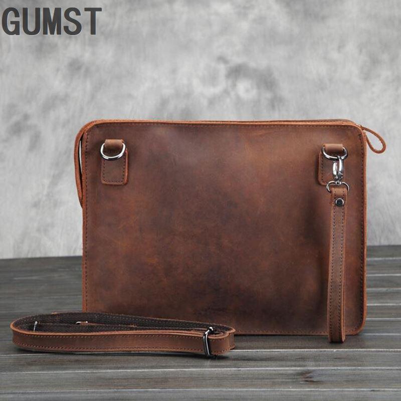 GUMST Original Crazy Horse Genuine Leather Retro Briefcase Bags Men Vintage Business Envelope Laptop Messenger Bag New
