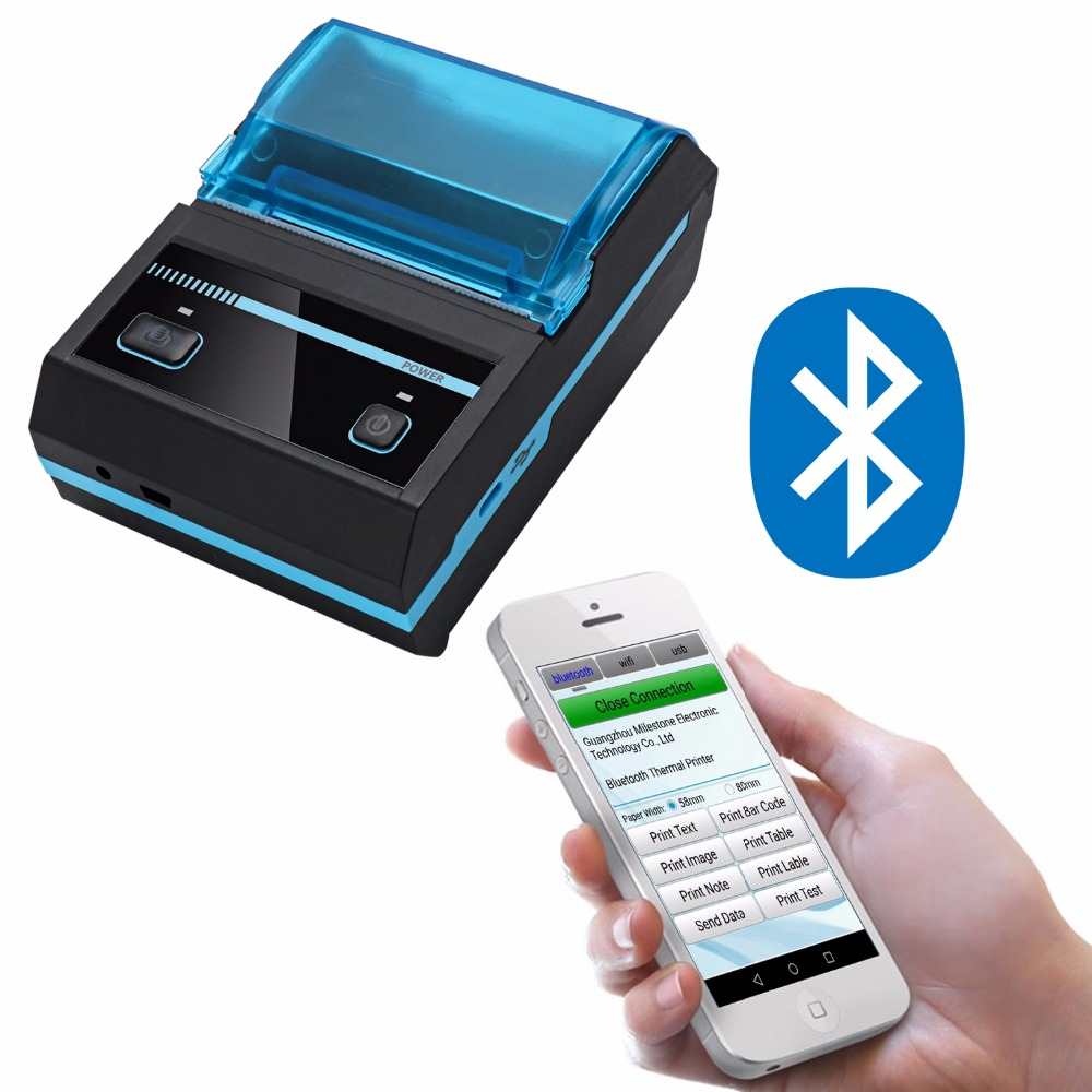 RADALL Bluetooth Thermal Receipt Printer Bill Ticket Android IOS Thermal Printer USB/Bluetooth Mini Pocket Printer RD-C58