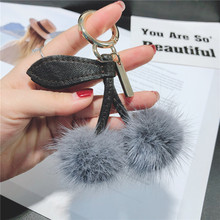 Luxury Real Mink Fur Pom pom Leather Keychain Cherry Keyring Bag Charm Fluffy Bag Pendant PomPom Key chains holder chaveiro Gift цена 2017