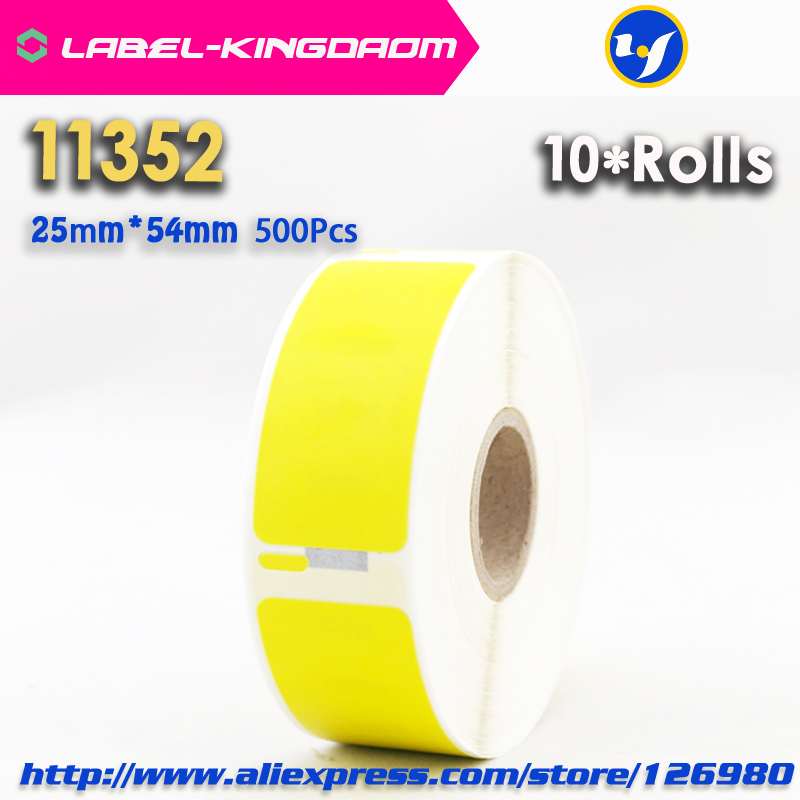 10 Rolls Dymo 11352 Yellow Color Generic Label 25mm 54mm 500Pcs Compatible for LabelWriter 450Turbo Printer