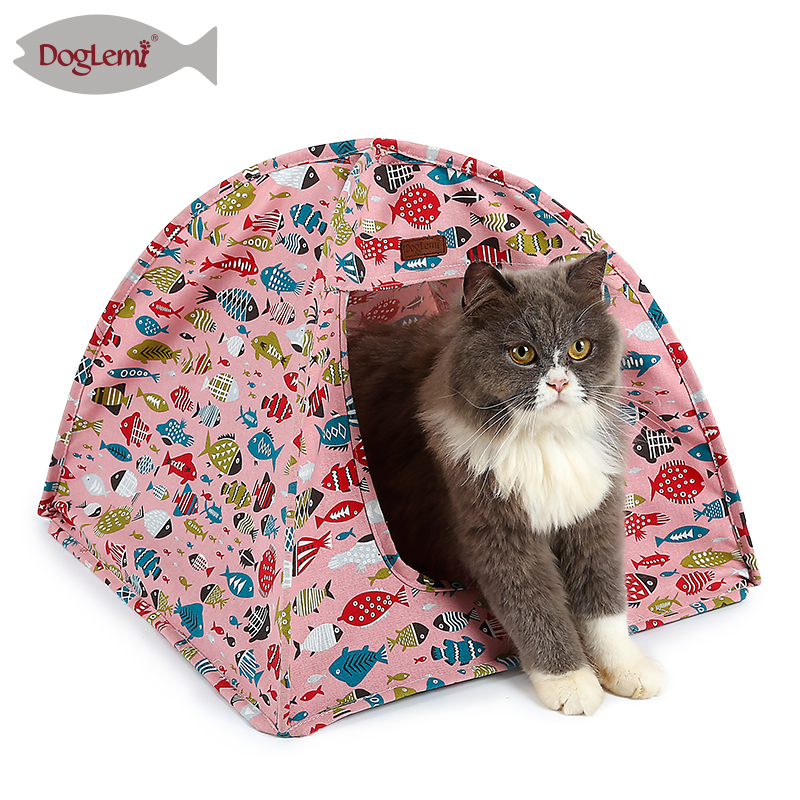 New Fish Design Cotton Canvas Portable Pet Tent for Indoor Cats Summer Spring Soft Indoor Cat Tent House Pink Blue Color-in Houses Kennels u0026 Pens from Home ...  sc 1 st  AliExpress.com & New Fish Design Cotton Canvas Portable Pet Tent for Indoor Cats ...