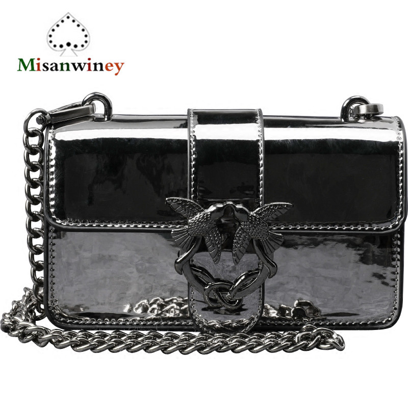 Women Chain Shoulder Bag Crossbody Bag Shiny Bling Lady Clutch Purse Luxury Patent Leather Female Handbag Sac A Main Louis Bags luxury brand women chain handbag patchwork leather handbag clutch purse famous designer crossbody bags sac a main louis gg bag