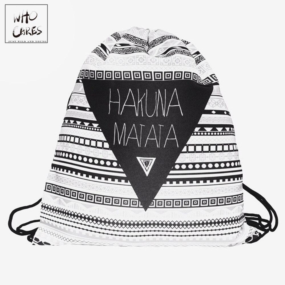 Drawstring Bag Backpack Travel-Bag HAKUNA MATATA Geometric Triangle-Pattern Women Feminina