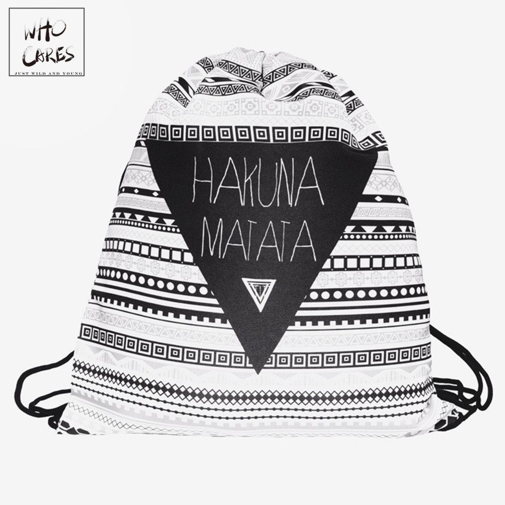 Zohra 3D Printing Fashion New Backpack women Geometric triangle pattern Drawstring bag Travel bag mochila feminina backpacks