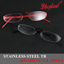 купить stainless steel TR reading glasses black and red cr-39 LENS free shipping по цене 662.85 рублей