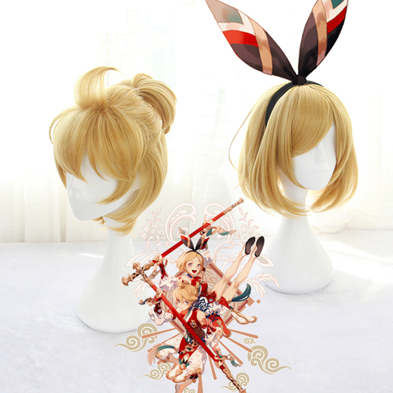 VOCALOID Kagamine Rin/Ren Cosplay Wigs 40cm Short Straight High Quality Heat Resistant Synthetic Wigs For Christma+wig Cap