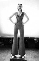 V образный вырез высокое качество жаккард Спагетти ремень спинки Полосатый Сексуальный клубный комбинезон облегающее платье знаменитости