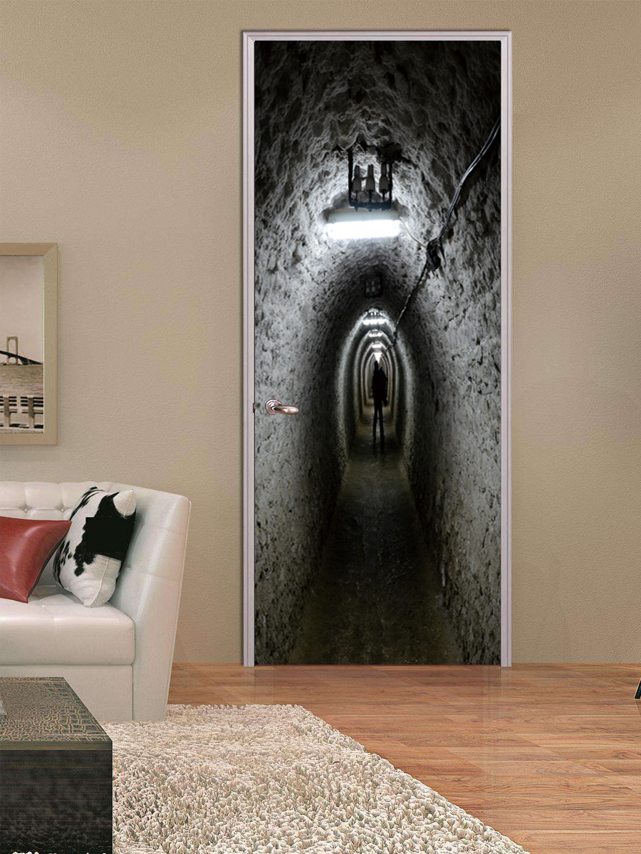 L Absent Isme Tunnel Salle De Douche Porte Halloween Autocollants