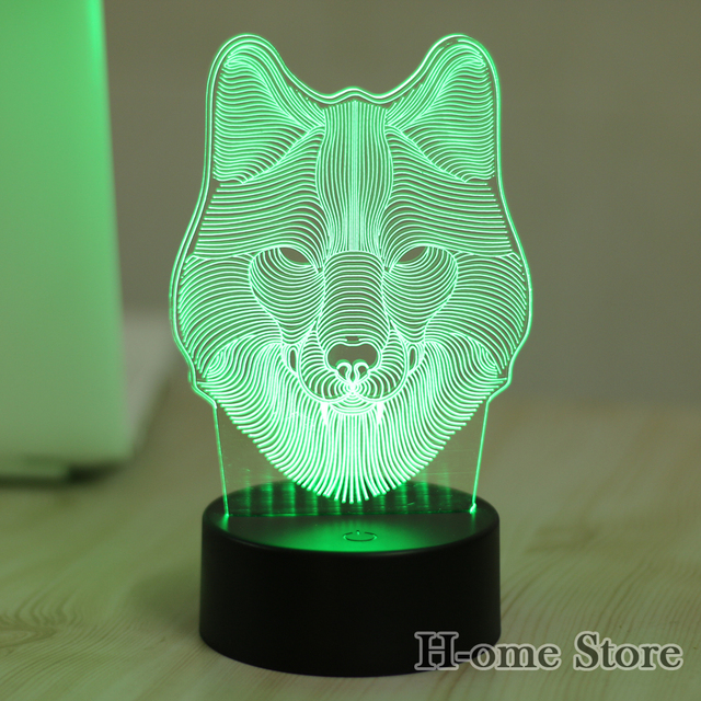 7 Color Wolf Lamp Visual Led Night Lights For Kids Touch Usb Table Lampara Lampe