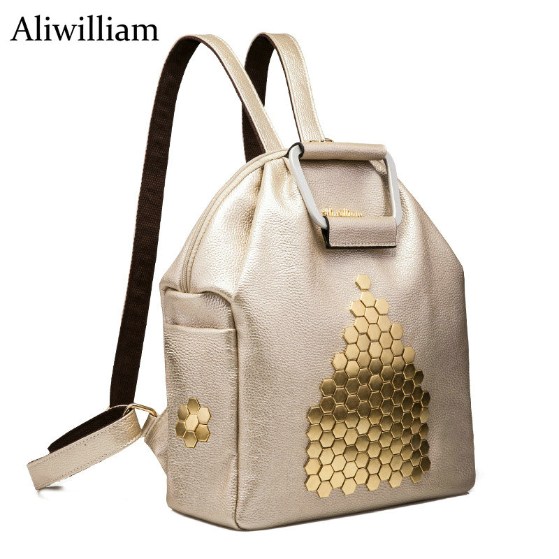 Aliwilliam 2017 Fashion Women Cow Leather Backpack Leather Black Shoulder Bag Big School Bags For Teenagers