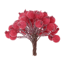 200pcs decorative mini christmas frosted fruit berry holly artificial flower diy home garden decorations christmas supplies