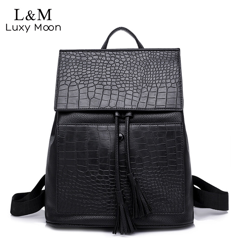Luxy moon Women Backpack Black Bags Travel Bag High Quality PU Leather Tassel Backpack Female For Teenage Girls Backpacks XA886H