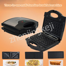 Household 3 in 1 Sandwich Maker Panini Machine Breakfast Waffle Toaster Three Sets of Baking Tray