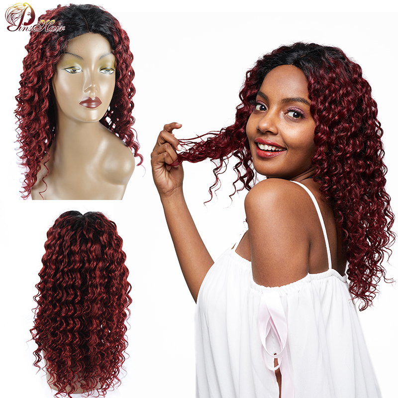 Pinshair Ombre 1b/99j Lace Front Human Hair Wigs For Black Women Brazilian Deep Wave Closure Wig Non-Remy Lace Human Hair Wigs