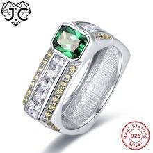 Мужское и женское кольцо из серебра 925 пробы с аметистом изумрудом