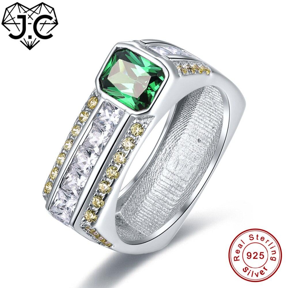 J.C Top Quality Amethyst & Emerald Green Amethyst & White Topaz 925 Sterling Silver Ring Size 7 8 9 10 Women/Men Fine Jewelry black onyx 925 sterling silver top quality fancy jewelry wedding ring size 5 6 7 8 9 10 11 f1178