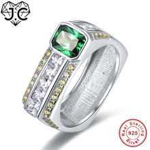 J.C Top Quality Amethyst & Emerald Green White Topaz 925 Sterling Silver Ring Size 7 8 9 10 Women/Men Fine Jewelry