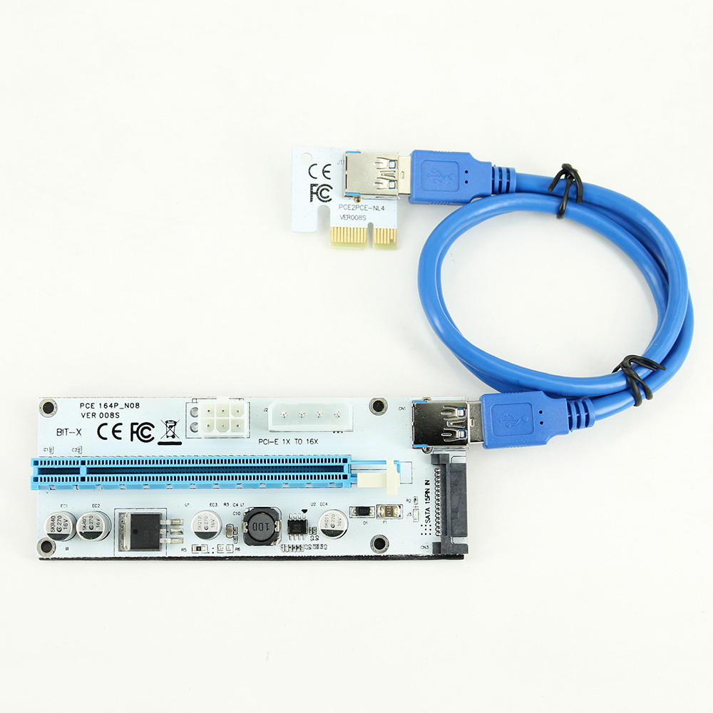 Riser 008S PCIe PCI-E PCI Express Riser Card 4 Pin 6 Pin SATA Ports 1X 4x 8x 16x USB 3.0 Data Cable Power Supply For BTC Miner
