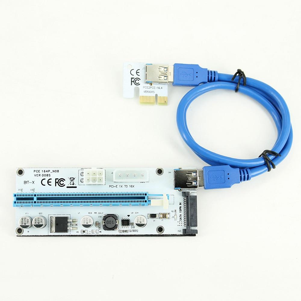 Riser 008S PCIe PCI-E PCI Express Riser Card 4 Pin 6 Pin SATA Ports 1X 4x 8x 16x USB 3.0 Data Cable Power Supply For BTC Miner