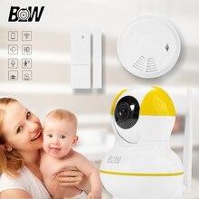 Видеонаблюдение IP Камеры Onvif Камеры Безопасности Дома + Беспроводной Датчик Двери/Датчик Дыма Сигнализации Wi-Fi Камера Baby Monitor