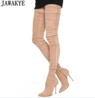 JAWAKYE Fall Winter Apricot Black Over The Knee Boots Stretch Slim High Heels Thigh High Boots