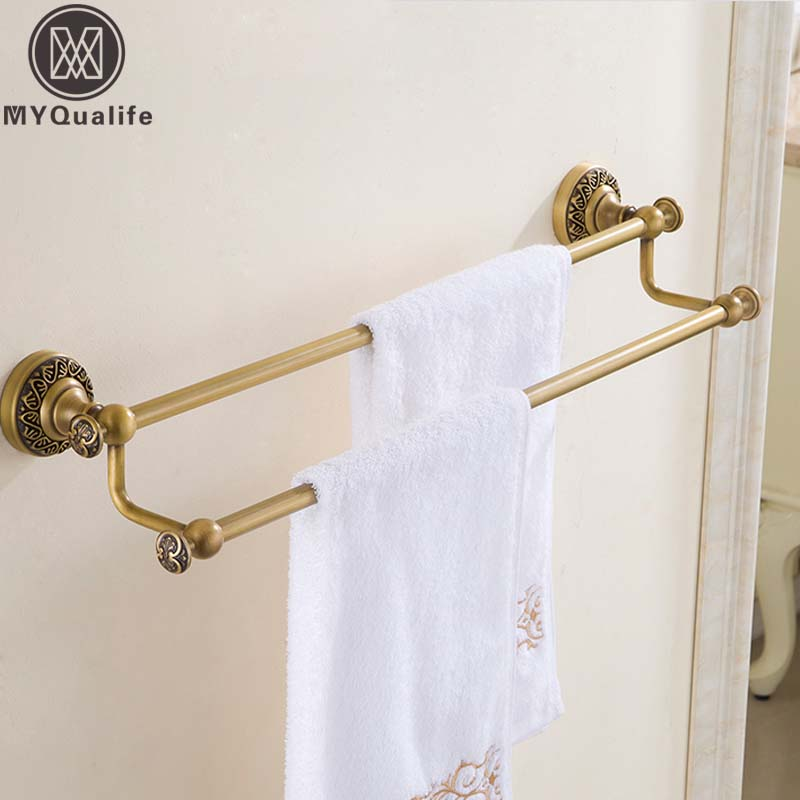 Free Shipping Bathroom Double Towel Rack Rail Holder Towel Bar Towel Shelf Antique Brass Finished 2016 high quality brass and crystal bathroom towel rack gold towel holder hotel home bathroom storage rack rail shelf