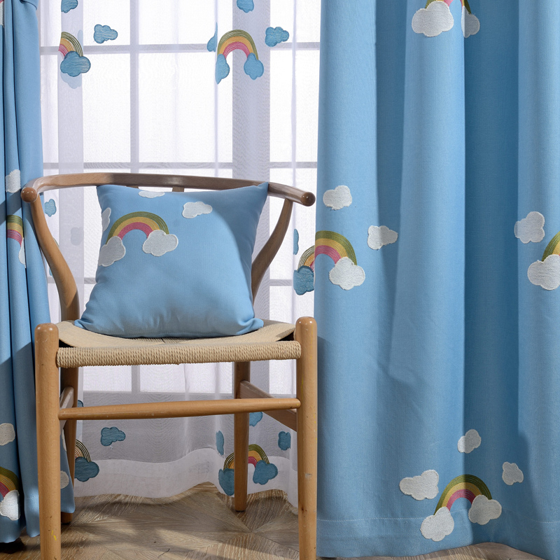 [byetee] Barn Curtain Fabrics Soverom Kids Curtain Brodert Gardin Kjøkken Gardin Dører For Living Baby Room Blackout