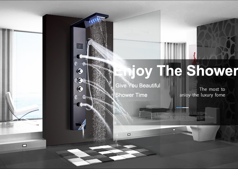 Quyanre Shower Faucet LED Shower Panel Rain Waterfall Shower Head ...