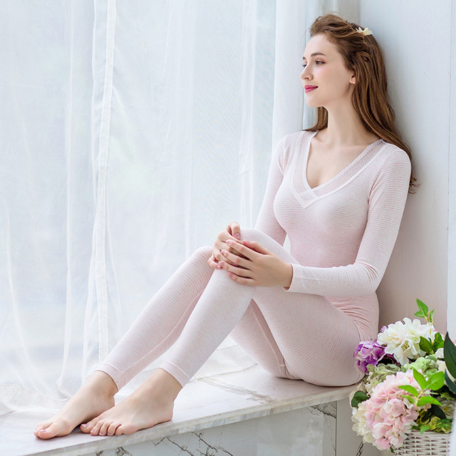 Long Johns For Women Spring Autumn Winter Thermal Underwear Set Underwear Sexy Sleep Top And Bottom Cotton Breathable Lady Suits