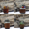 New Design Wooden And Resin Secret Transparent Necklaces Blue Forest Necklace For Women Handmade Magical Jewelry