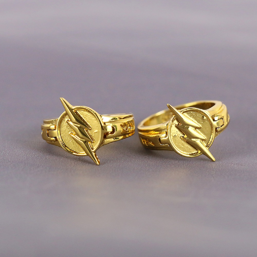 1 Piece TV Series The Flash Reverse Flash Finger Rings Gold Plated Cosplay Props Gift Collectibles Halloween with Lid