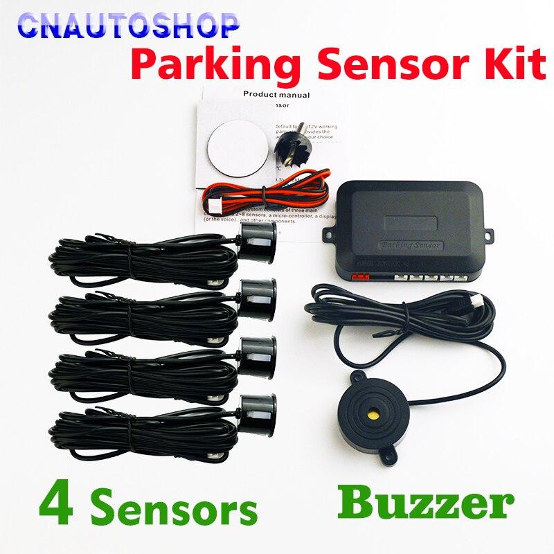 Viecar Buzzer Sensore Di Parcheggio Kit (con/Senza Foro Ha Veduto) Backup Radar Alert Audio Indicatore Sistema di 4 Sensori Della Sonda 22mm 12 V