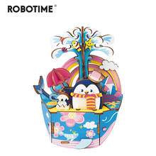 Robotime New Arrival DIY 3D Oceam Park Wooden Puzzle Game Assembly Moveable Music Box Toy Gift for Children Kids Adult AMD51