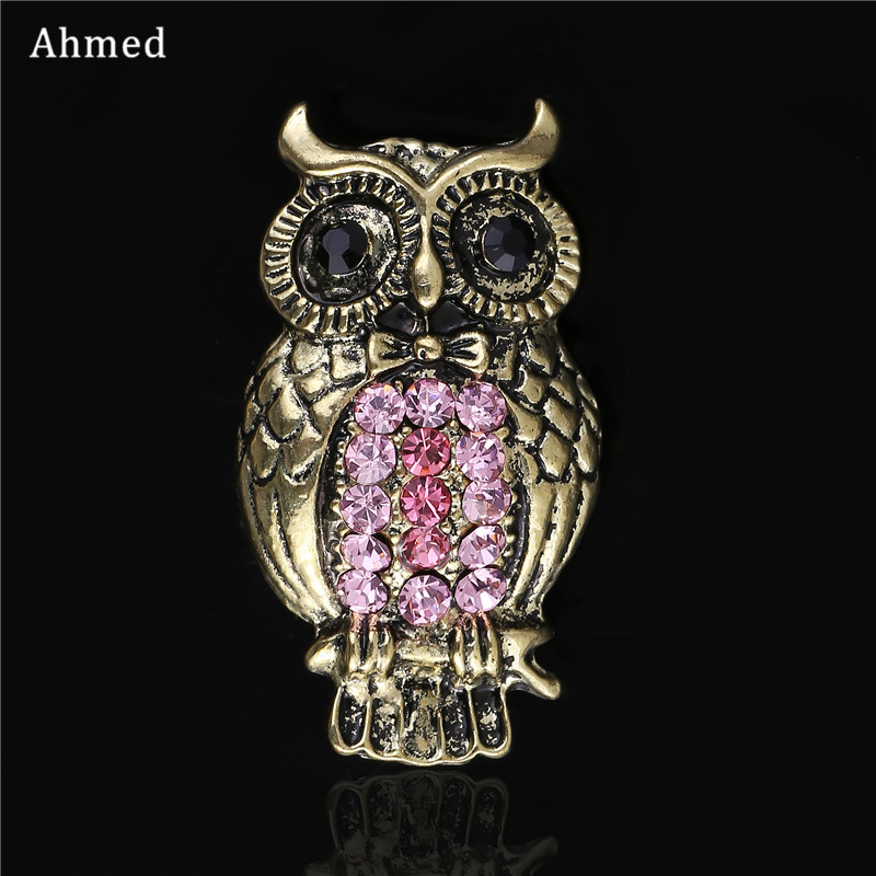 Ahmed Charm Gold Owl Brooches For Women Fashion Jewelry Cute Rhinestone Scarf Suit Cat Clip Vintage Sweater Corsage For Gifts