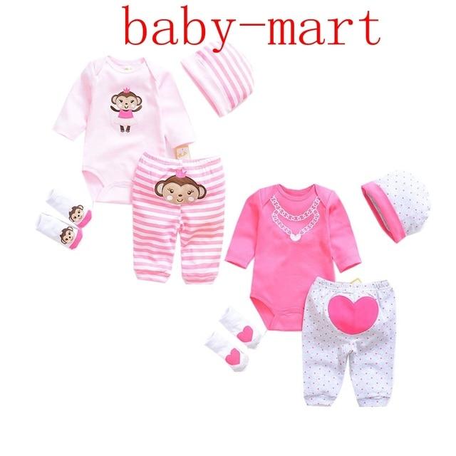 5c42c4d510eb Cute Cat Dinosaur baby Clothing Sets cotton boy clothes suit Newborn girl  suit 4pcs long sleeve infant bodysuits+pants+socks+hat