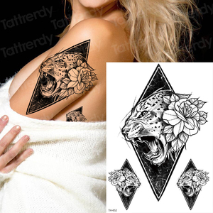 Tatuaje temporario bocetos de brazo diseños de tatuaje Pantera Negra tatuaje cabeza de tigre tatuaje sexy para mujer tatuajes de cuerpo impermeables hoja
