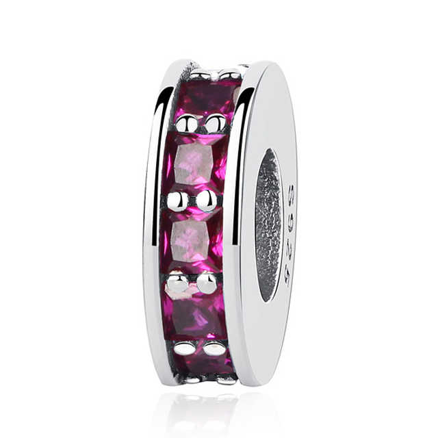 ee7f7ab9deb ... Authentic 925 Sterling Silver Bead Charm Classic Shine Open Bangle  Spacer Charms Stopper Fit Pandora Bracelets
