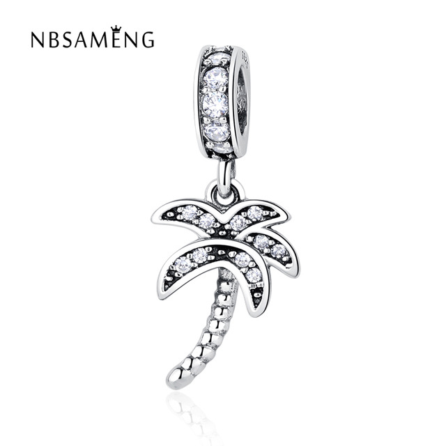 Authentic 925 sterling silver bead charm coconut tree with crystal authentic 925 sterling silver bead charm coconut tree with crystal pendant beads fit pandora bracelet bangle diy jewelry mozeypictures Gallery