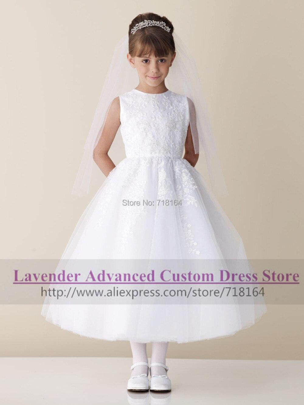 4925f385fcd Vintage elegant long A line white ivory rustic flower girl dress for ...