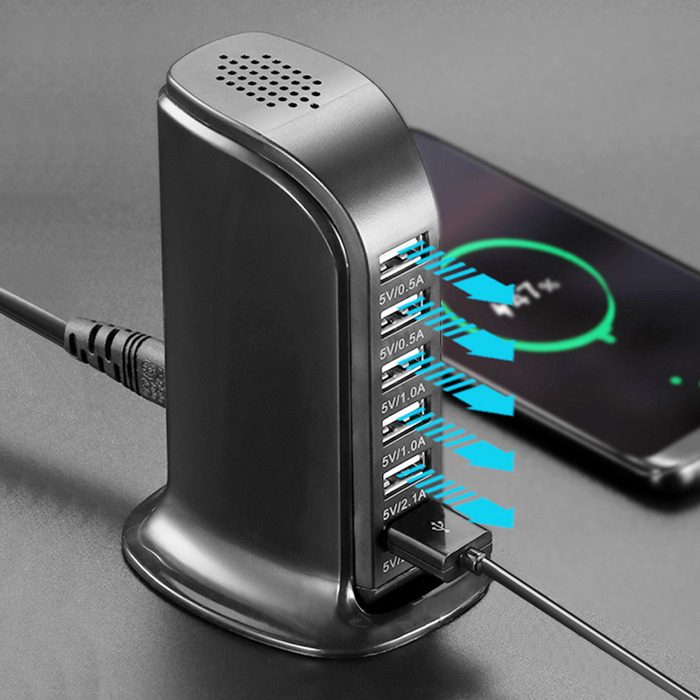6 USB Phone Charger Station Output 6A USB Phone Charger HUBDesktop Travel Socket Power Adapter For Iphone 8 X Xs Xr Samsung