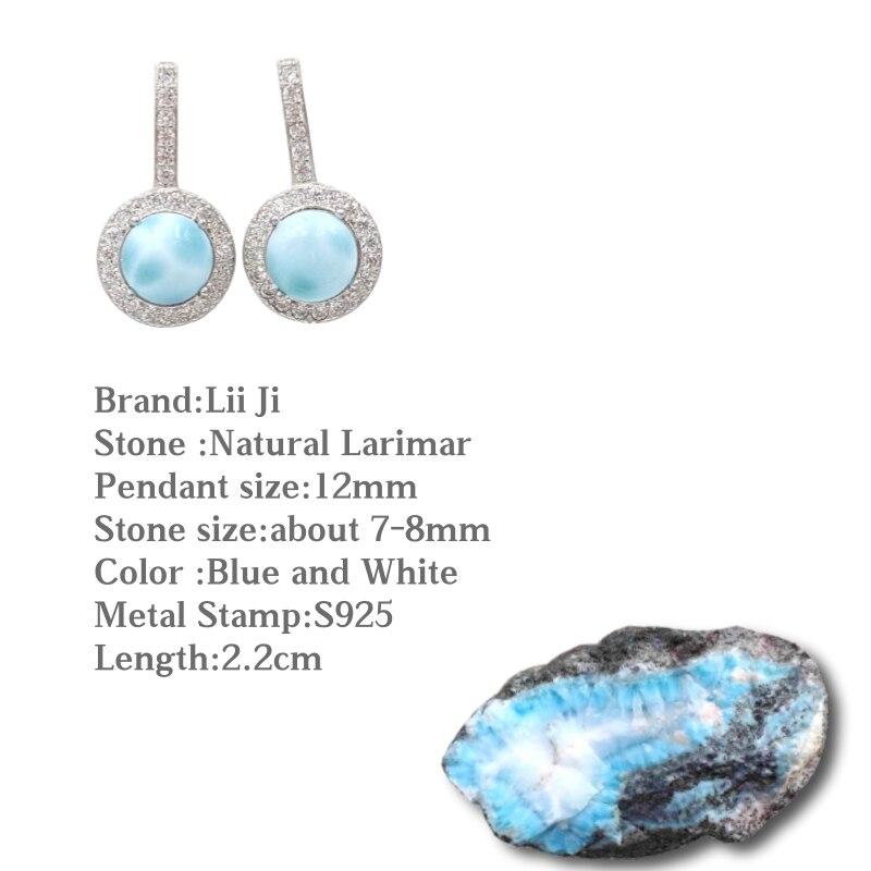 Lii Ji pierre précieuse naturelle Larimar classique luxe brillant Zircon réel 925 argent Sterling longue boucle d'oreille femmes bijoux de mariage - 2
