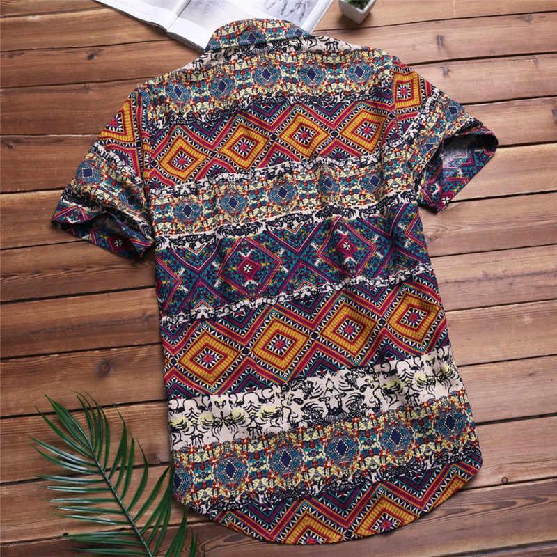 2019 мужские рубашки с коротким рукавом и карманами, цветная Повседневная блуза, этническая гавайская рубашка, мужские топы, летняя сорочка размера плюс 5XL