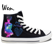 Wen Black Hand Painted Shoes Fairy Tail Gray Lucy Men Women's Birthday Gifts High Top Anime Canvas Sneakers