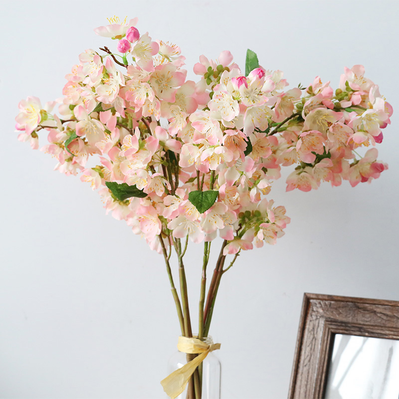 High quality 20 inch artificial plants plastic fake flowers silk cherry blossom branches silk flowers for home decoration