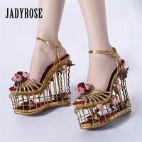 Jady Rose Birdcage Heel Women Sandals 15CM High Heels Women Platform Pumps Wedding Shoes Flower Decor Wedge Shoes Ladies Sandal
