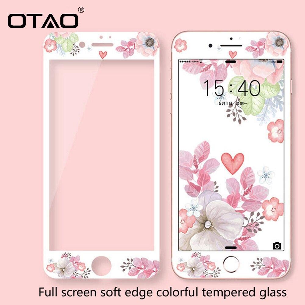 OTAO 3D מלא כיסוי צבעוני מזג זכוכית עבור iPhone 8 7 בתוספת רך קצה מסך מגן עבור iPhone 6 6 s בתוספת מגן סרט