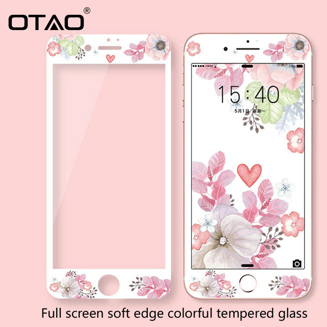 OTAO 3D Full Cover Colorful Tempered Glass For iPhone  8 7 Plus Soft Edge Screen Protector For iPhone 6 6s Plus Protective Film