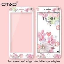 OTAO 3D ฝาครอบที่มีสีสันกระจกนิรภัยสำหรับ iPhone 8 7 Plus ขอบ Soft สำหรับ iPhone 6 6 S PLUS