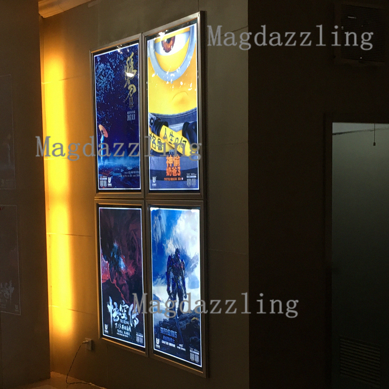 60x90cm wall mounted snap frame led illuminated movie poster lightbox hone theater led aluminum. Black Bedroom Furniture Sets. Home Design Ideas