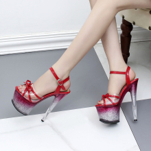цена на Sexy Red Bowtie Super High Platform Glitter Sandals Cut Out Shoes Patent Leather Hollow Open Toe Ankle Buckle Glitter Power Heel